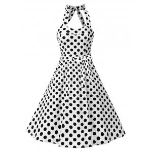 Vintage Polka Dot Backless Halter Pin Up Dress - White - L