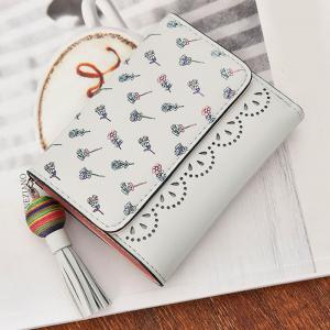 Tassel Floral Design Tri Fold Wallets - GRAY