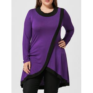 Plus Size High Low Surplice Tunic T-shirt
