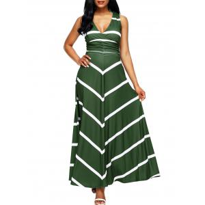 Back Cut Out Chevron Stripe Maxi Dress
