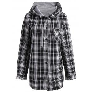 Button Up Plus Size Plaid Hooded Coat - Black - 3xl