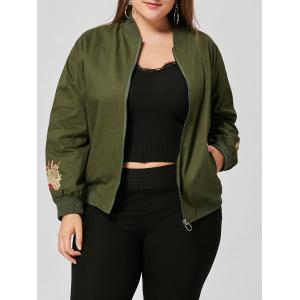 Floral Embroidered Plus Size Jacket - Army Green - 3xl
