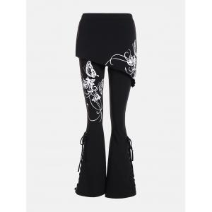 Criss Cross Bottom Flare Pants with Print - BLACK S