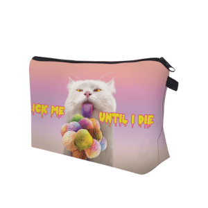 3D Cat Printed Clutch Makeup Bag - PINKISH PURPLE