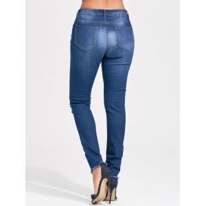 Distressed Skinny Cut Out Jeans - BLUE 2XL