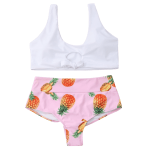 Pineapple High Waist Bralette Bikini Set -