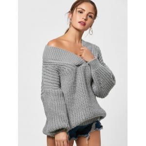 Chunky Drop Shoulder Surplice Sweater - GRAY ONE SIZE