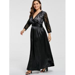 Lace Sleeve V Neck Plus Size Evening Dress -