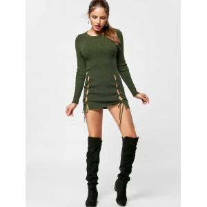 Lace Up Jumper Dress - OLIVE GREEN S