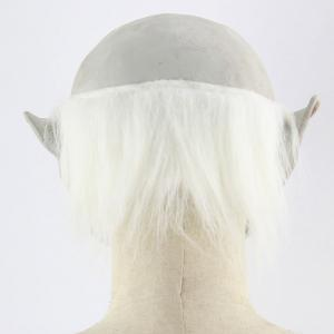White Brow Monster Printed Halloween Mask With Wig -