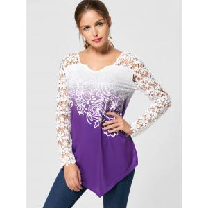 Ombre Lace Yoke Long Sleeve Blouse -