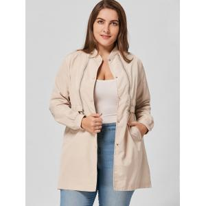 Zip Embellished Plus Size Coat -