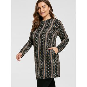 Plus Size Bohemian Printed Tunic Dress with Sleeves -