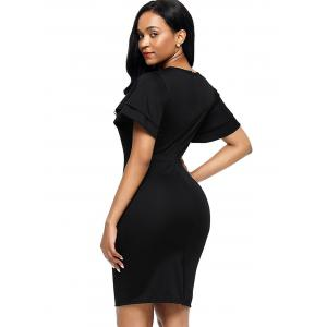 Layered Sleeve Bodycon Back Slit Fitted Dress -