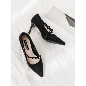 Pointed Toe Flowers Faux Pearls Pumps -