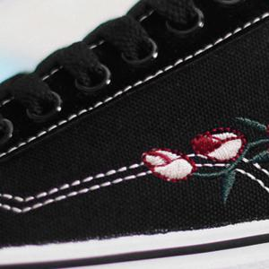 Flower Embroidered Canvas Shoes -