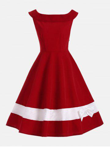Trendy Bowknot Embellished Color Block Sleeveless Vintage Dress - S DEEP RED Mobile