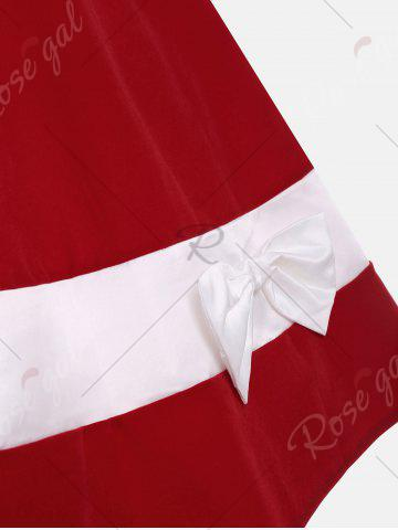 Online Bowknot Embellished Color Block Sleeveless Vintage Dress - S DEEP RED Mobile
