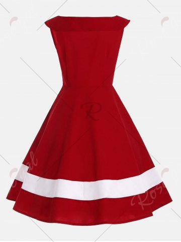 Discount Bowknot Embellished Color Block Sleeveless Vintage Dress - 2XL DEEP RED Mobile