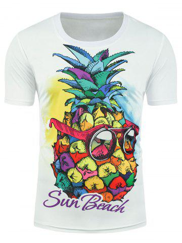 Online Sun Beach Graphic Pineapple T-shirt - XL WHITE Mobile