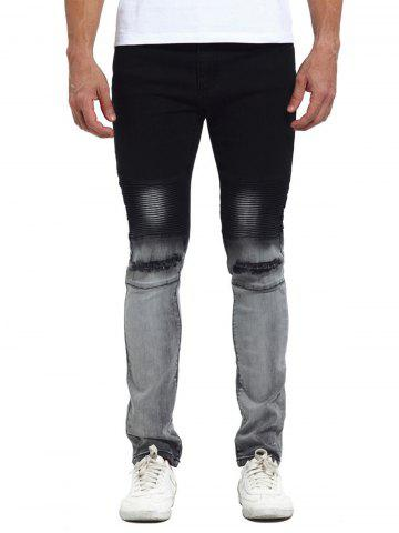 Faded Knee Broken Biker Jeans - Black - 38
