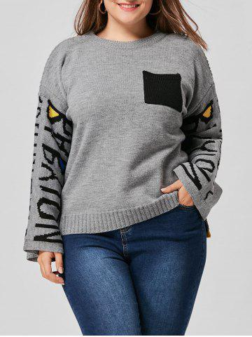 High Low Drop Shoulder Pocket Plus Size Sweater - Gray - One Size