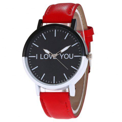 Store I Love You Faux Leather Strap Watch