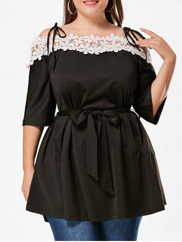 Floral Applique Cold Shoulder Plus Size Dress - Black - 2xl