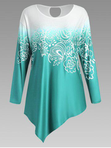 Floral Ombre Long Sleeve Plus Size Asymmetric Top - Blue Green - Xl