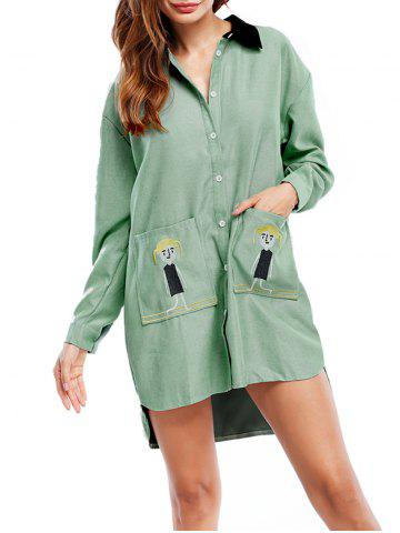 Long Sleeve Asymmetric Shirt Dress with Pocket - Light Green - One Size