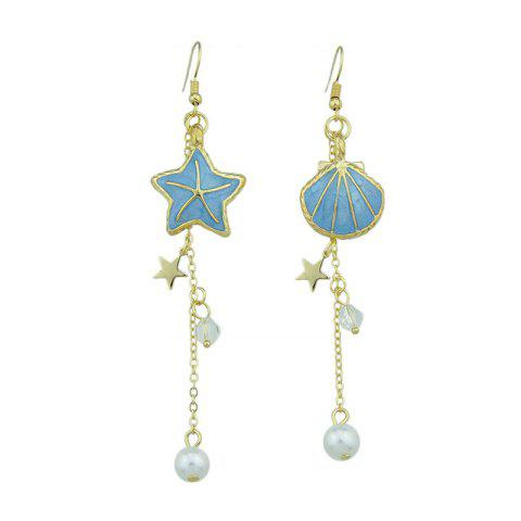 Seashell Starfish Long Fish Hook Earrings - Blue