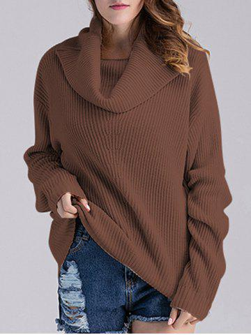 Outfits Ribbed Turtleneck Oversized Sweater COFFEE ONE SIZE
