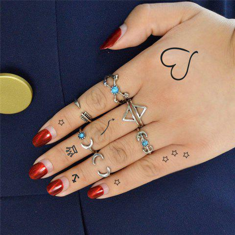 Outfit Vintage Love Arrow Moon Cuff Ring Set - SILVER  Mobile