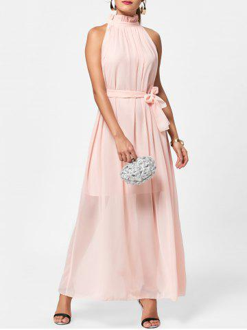 Long Chiffon Ruff Collar Prom Dress - Light Pink - One Size