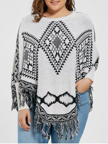 Cheap Geometric Fringed Plus Size Poncho Sweater