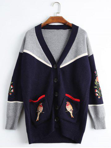 Bird Embroidered Drop Shoulder Plus Size Cardigan - Purplish Blue - One Size