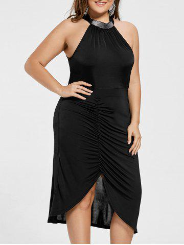 Plus Size Sleeveless Ruched Formal Dress - Black - 2xl