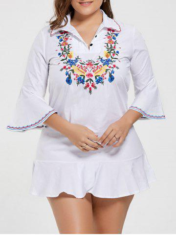 Plus Size Bell Sleeve Floral Embroidered Dress - White - 4xl