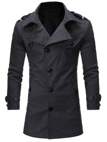Single Breasted Epaulet Woolen Coat - Gray - M
