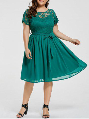 Plus Size Overlay Lace Panel Dress - Green - 9xl