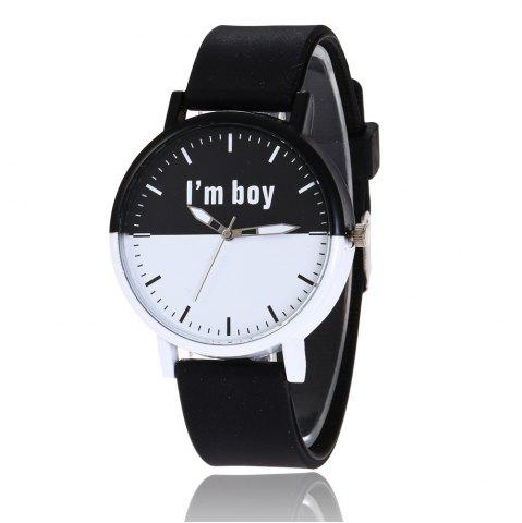 Boy Letter Face Silicone Strap Watch - Black