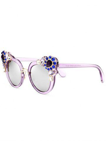 Anti UV Faux Crystal Gemstone Inlaid Sunglasses - Purple