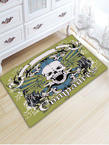 Fashion Skull Letter Flannel Skidproof Bathroom Rug - W20 INCH * L31.5 INCH GREEN Mobile