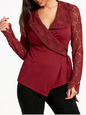 Fashion Plunging Neck Long Sleeve Lace Panel Wrap Top - M RED Mobile