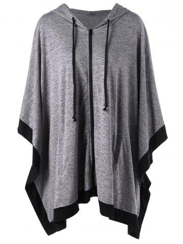 Hooded Zip Up Plus Size Cape Coat - Gray - 4xl
