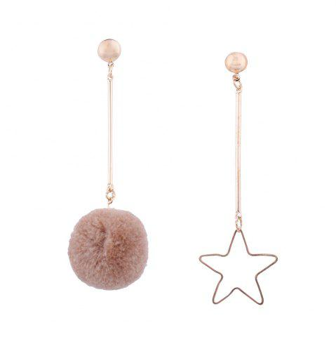 Asymmetric Star Fuzzy Ball Earrings - Khaki