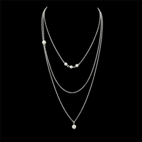 Faux Pearl Chain Layered Pendant Necklace - Silver