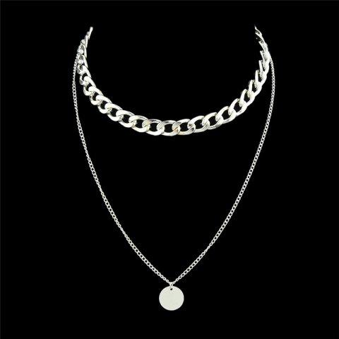 Round Disc Layered Pendant Chain Necklace - Silver