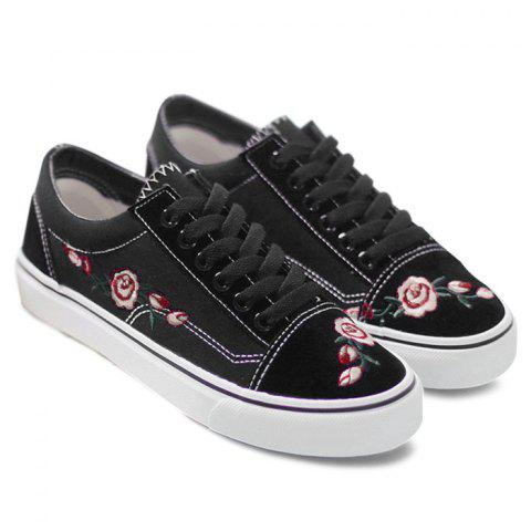 Sale Flower Embroidered Canvas Shoes BLACK 39