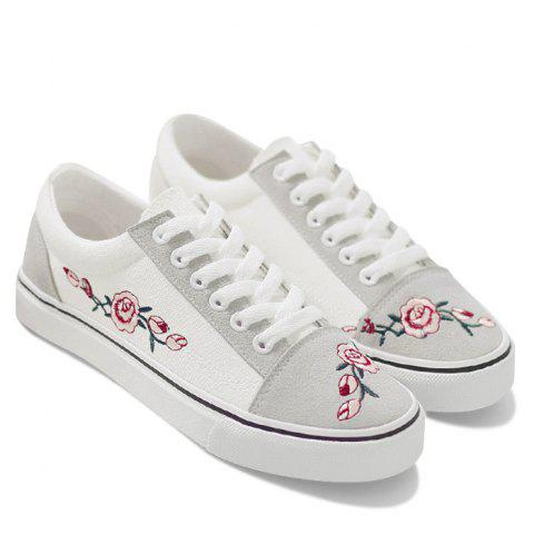 Flower Embroidered Canvas Shoes - White - 38